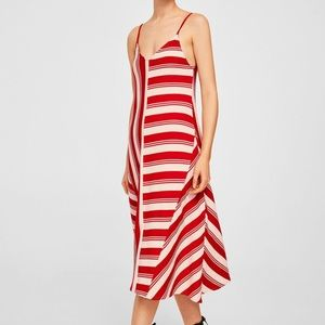 Mango - XS Red & White Striped Cotton Midi Dress